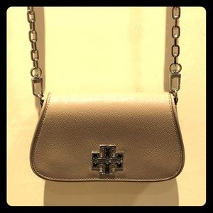 Tory Burch Patent Taupe Leather Cross Body Bag